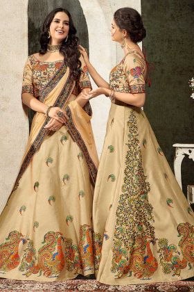 Printed Lehenga With Gown Embroidery Heavy Work Beige Color Pure Heritage Soft Silk