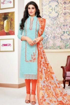 Printed Modal Silk Casual Salwar Suit Sky Blue Color