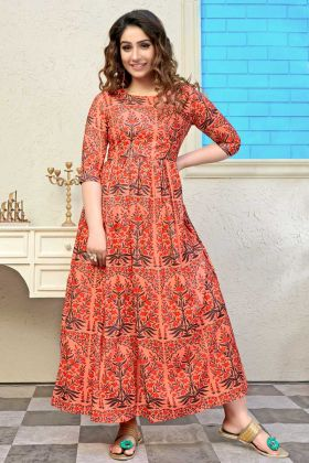 Printed Muslin Anarkali Style Kurti In Orange Color