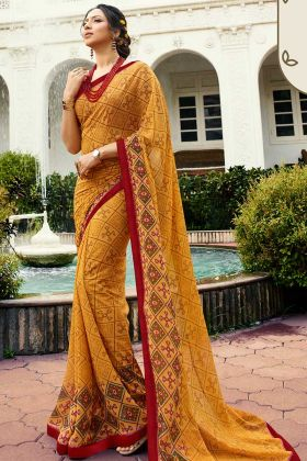 Printed Mustard Yellow Georgette Casual Saree For Women