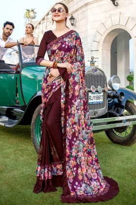 Printed Purple And Wine Lycra Party Wear Ruffle Saree