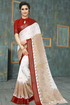 Printed Saree White Color Soft Cotton In Printed Work