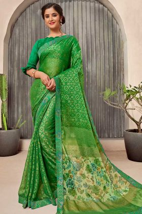 Printed Saree With Green Color Chiffon Fabric
