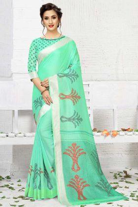 Printed Sea Green Linen Saree