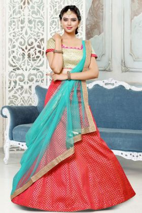 Printed Semi Stitched Brocade Party Wear Lehenga Red Color