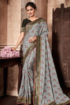 Printed Silk Grey Designer Saree