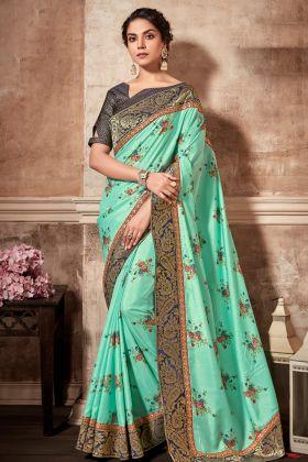 Printed Silk Sky Blue Saree