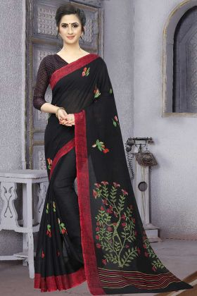 Printed Soft Cotton Black Saree With Beautiful Blouse