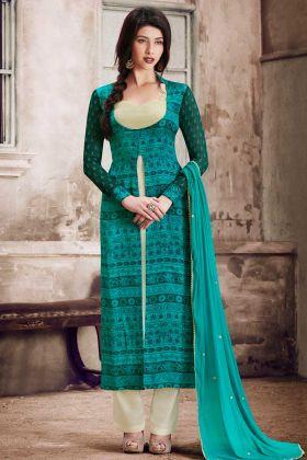 Printed Teal Green Satin Palazzo Dress
