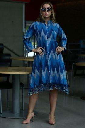 Printed Work Blue Color Khadi Stylish Kurti