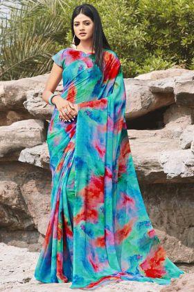 Printed Work Blue Saree With Chiffon Fabric