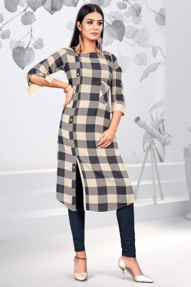 Printed Work Cream and Black Color Rayon Party Wear Kurti