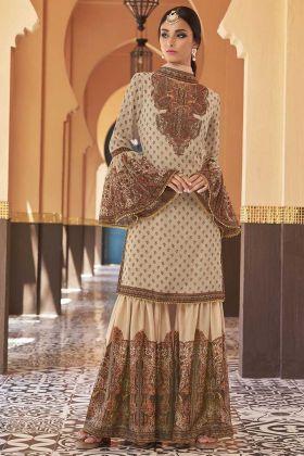 Printed Work Cream Color Georgette Sharara Dress