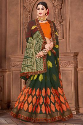 Printed Work Dark Green Color Chiffon Brasso Designer Saree