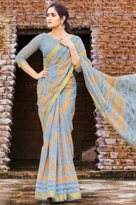 Printed Work Grey Color Cotton Chiffon Saree