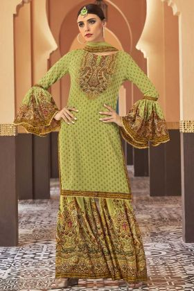 Printed Work Light Green Color Georgette Sharara Salwar Kameez