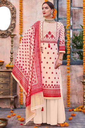 Printed Work Linen Cream And Red Palazzo Salwar Kameez