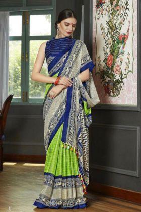 Printed Work Linen Juth Wedding Saree Parrot Green Color