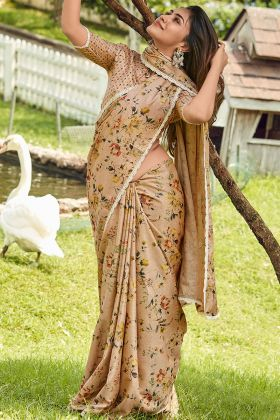 Printed Work Manipuri Silk Designer Saree In Dark Beige Color