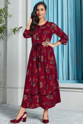 Printed Work Maroon Color Rayon Designer Kurti