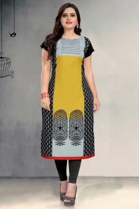 Printed Work Multi Color Crepe Casual Kurti