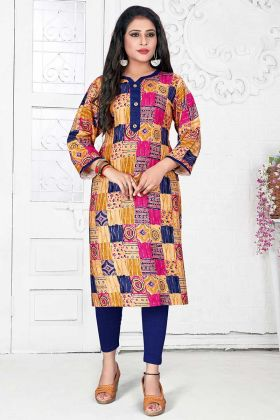 Printed Work Multi Color Rayon Designer Kurti