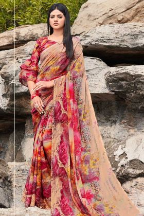 Printed Work Multicolor Saree With Chiffon Fabric