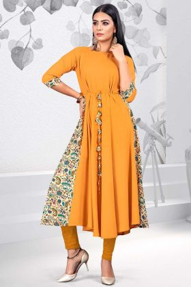 Printed Work Mustard Yellow Color Rayon Stylish Kurti