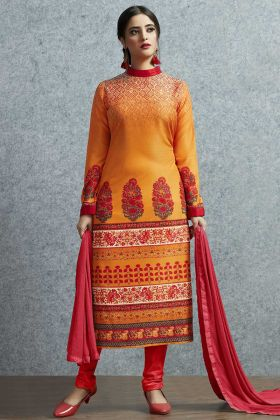 Printed Work Orange Color Muslin Cotton Straight Salwar Kameez