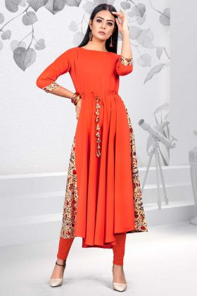 Printed Work Orange Color Rayon Designer Kurti