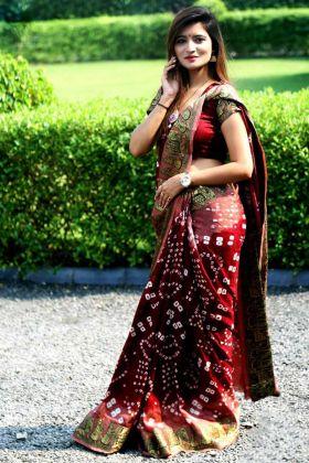 Printed Work Red and Pink Color Art Silk Bandhej Saree