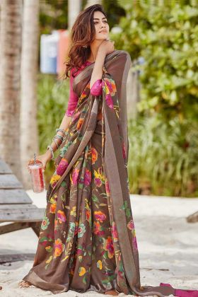 Printed Work Soft Linen Traditional Saree In Brown Color