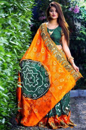 Printed Work Teal Green and Orange Color Art Silk Bandhej Saree