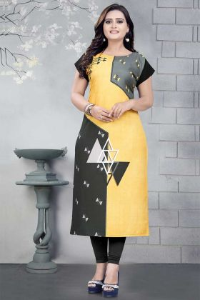 Printed Work Yellow Color Crepe Designer Kurti