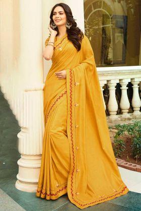 Printed Yellow Color Chanderi Designer Saree