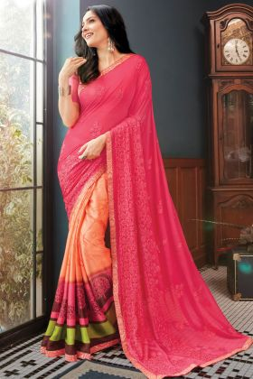 Prominent Pink Color Georgette Fancy Printed Saree