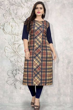 Printed Work Multi Color Crepe Stylish Kurti