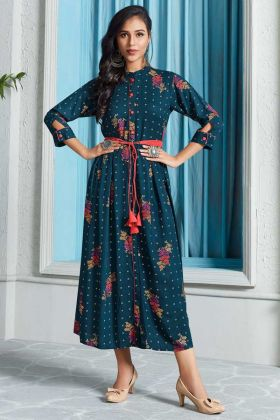 Prussian Blue Color Long Kurti With Printed Work