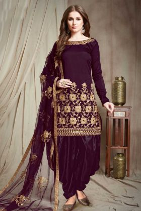 Punjabi Salwar Kameez Violet Color Faux Georgette With Stone Work