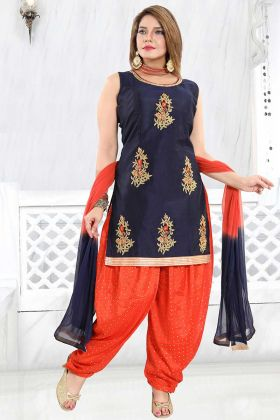 Punjabi Suit Navy Blue Color In Banglori Silk