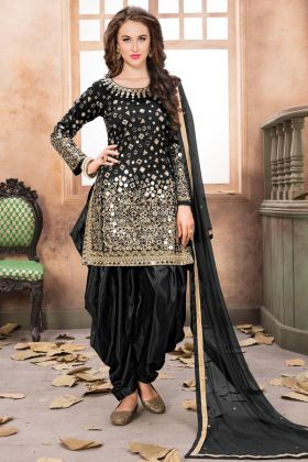 Punjabi Suit Taffeta Silk Black Color With Mirror Work