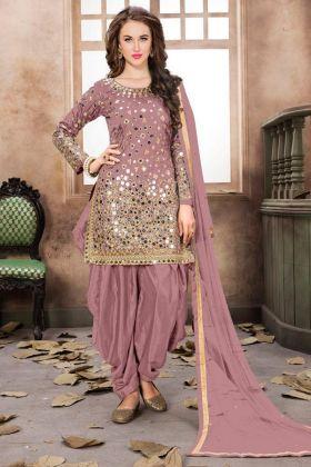 Punjabi Suit Taffeta Silk Old Rose With Mirror Work