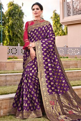 Puprle Weaved Silk Readymade Saree With Designer Blouse