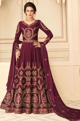 Purchase Maroon Color Pure Silk Designer Anarkali Salwar Suit