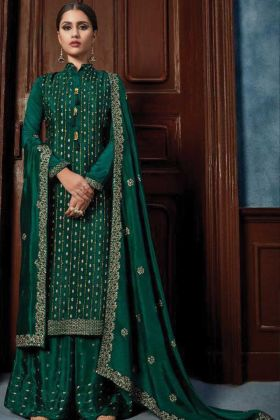 Purchase Of Green Color Heavy And Fancy Sharara Kurti For Party