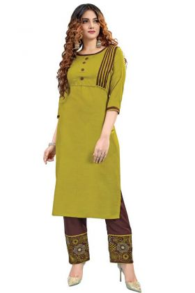 Purchase Olive Green Stylish Ruby Cotton Kurti Pant