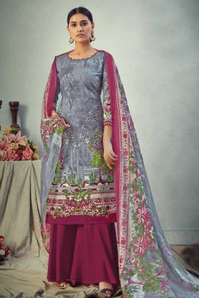 Pure Cambric Cotton Grey Digital Style Salwar Suit