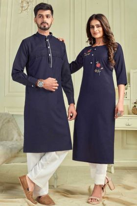 Pure Cotton Navy Blue Couple Combo Kurta With Payjama And Kurti With Pant