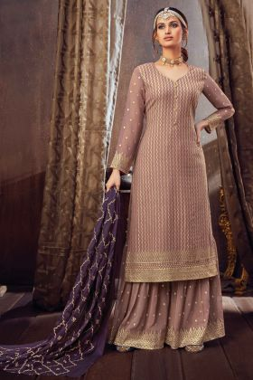 Pure Georgette Party Wear Pretty Sharara Suit In Light Brown Color