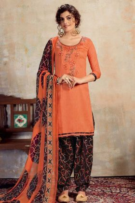 Pure Jam Cotton Orange Patiala Salwar Suit
